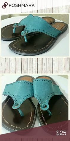SUMMER SALE.. TAKE AN ADD. $ 5  OFF Leather Teal Sandals.  Size 6. Good condition still tons of wrar.  FRANCO SARTO Franco Sarto Shoes Sandals