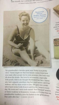 In this month's @Southern_Living Magazine. My 5th cousin, Marguerite #BeachStyle #1950Glamour #BeachLife #familyhistory