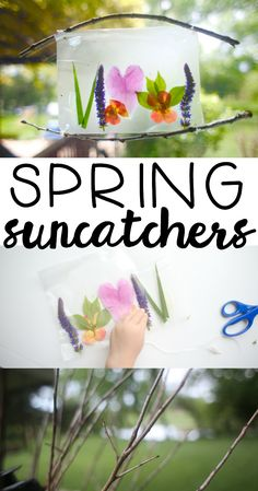 Spring Suncatchers: Part of our 31 Days of Outdoor Activities for Toddlers. Such a beautiful craft to make using natural items just outside your front door!
