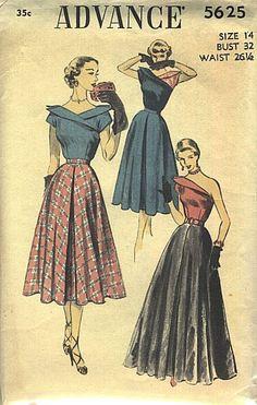Advance 5625 circa 1950 chemisier et jupe - I ♡ Vintage Sewing Patterns: Convertible & Multi-wear - Vintage Dress Patterns, Skirt Patterns Sewing, Clothing Patterns, Vintage Dresses, Vintage Outfits, Skirt Sewing, Vintage Clothing, Sewing Coat, Vogue Patterns
