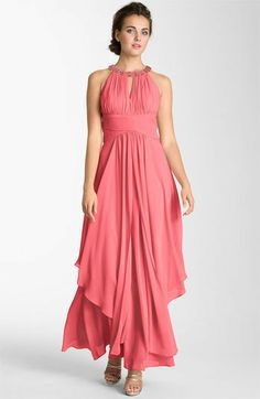 Dom: I think this dress would look great with a bouquet of yellow and orange roses. Eliza J Embellished Tiered Chiffon Halter Gown available at Mob Dresses, Prom Dresses For Sale, Bridesmaid Dresses, Formal Dresses, Bride Dresses, Bridesmaids, Halter Gown, Chiffon Gown, Vestidos Mob