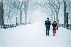 A couple walking in Central Park during the recent blizzard in New York City.
