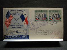 SS PANAMA LINE Naval Cover 1939 MAIDEN VOYAGE Cachet COLON, PANAMA