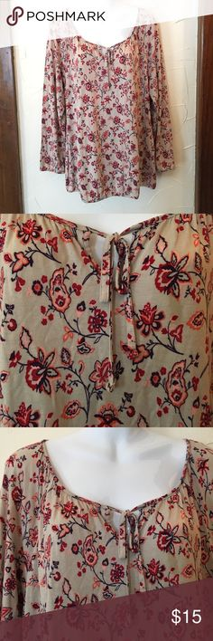 Spotted while shopping on Poshmark: Old Navy Tan and Floral Print Long Sleeve! #poshmark #fashion #shopping #style #Old Navy #Tops