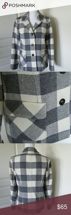 "Block check jacket Gray block check jacket - 75% wool, 25% lambs wool. Neck to hem measurement 26"".  Sleeve length 23"". Pendleton Jackets & Coats Blazers"