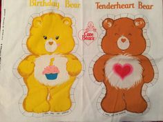 Vintage Care Bears Fabric Panel by OldCrowsTreasures247 on Etsy