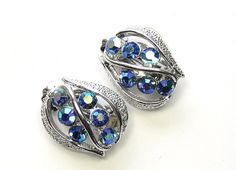 Vintage Sapphire Blue Rhinestone & Silver Toned by SassyBeauties