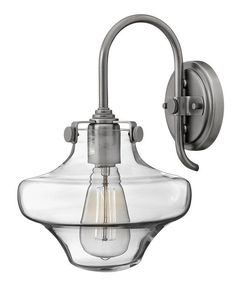 View the Hinkley Lighting 3171 1 Light Indoor Wall Sconce with Clear Schoolhouse Shade from the Congress Collection at LightingDirect.com.