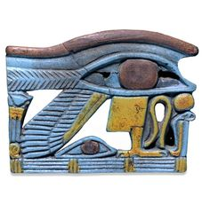 Faience wedjat eye amulet from Egypt, Third Intermediate Period, 1068-661 BC, protective amulet.