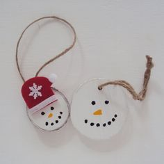 Set of 2 Wood Slice Snowman Ornaments Wood by HomeDecorbyDiane