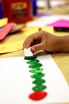Marshmallow stamp Very Hungry Caterpillar. Fun art project idea for an Eric Carle study!
