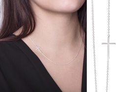 Sideways Cross Necklace Sterling Silver Offset Cross On The Side Delicate Small Dainty Simple Off Centered