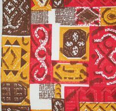 vintage 1950s unused abstract symbols cotton barkcloth piece