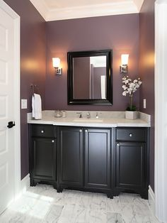 plum powder room w/ black cabinets, add a cream colored pearlescent shower curtain and this would look amazing in my master bath!!