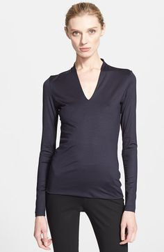 Akris Long Sleeve Silk Jersey Blouse available at  Nordstrom V Neck Tops 3f1bf21eaddd3