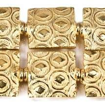 12mm 22kt Gold Plated Copper Keyhole Embossed Square Beads, 8 inch