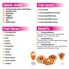 Juice World's Fruit Salads and Special Juices Menu.