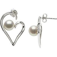Sterling Silver Hollow Heart Freshwater Pearl Earrings