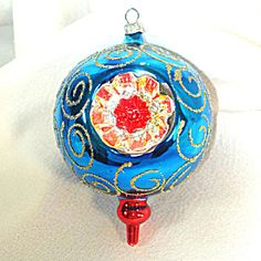 Blue Red Yellow Large Fancy Triple Indent Glass Christmas Ornament. Click on the image for more information.