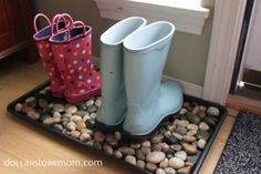 Make a Designer Inspired Dollar Store Boot Tray...would be good for a general shoe drop spot too.
