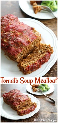 A classic meatloaf recipe that uses tomato soup. Sometimes nothing beats a classic meatloaf recipe! A classic meatloaf recipe that uses tomato soup. Sometimes nothing beats a classic meatloaf recipe! Meatloaf Recipe With Tomato Soup, Campbell's Tomato Soup Recipes, Homemade Meatloaf, Meat Loaf Recipe Easy, Best Meatloaf, Chicken Soup Recipes, Meatloaf Recipes, Beef Recipes, Cooking Recipes