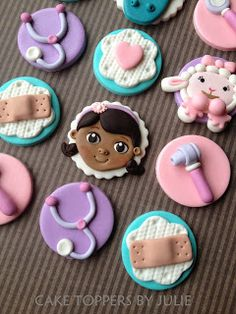Custom Cakes by Julie Doc McStuffins toppers Doc Mcstuffins Cookies, Doc Mcstuffins Birthday, Cute Cookies, Cupcake Cookies, Fondant Toppers, Cupcake Toppers, Baby Girl First Birthday, Fun Cupcakes, Cake Tutorial