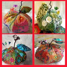 Tutorial of stitches to embellish these basic tomato pincushions