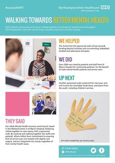"""All week we have been sharing our case study booklet with you """"Making a difference everyday"""" and today we are proud to share our last two case studies with you.  Walking towards better mental health involved staff patients service users and carers walking together to fund raise for activities that supports men with mental illness disorders and those in alcohol recovery.  Over 500 was raised and will be used on physical activities such as swimming basketball football and alternative…"""