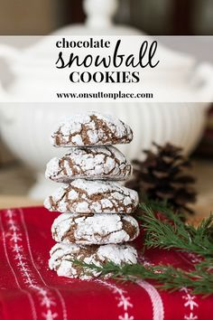 Easy recipe for moist chocolate cookies that stay fresh in an air-tight container for days! Chocolate Snowball Cookies Recipe, Chocolate Snowballs, Chocolate Crinkles, Christmas Sweets, Christmas Baking, Xmas, Christmas Recipes, Holiday Baking, Christmas Cookies