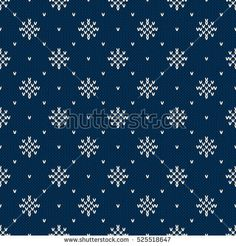 Winter Holiday Knitted Pattern with Snowflakes. Fair Isle Knitting Sweater Design. Seamless Christmas and New Year Background
