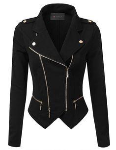 Amazon.com: Doublju Womens Asymmetrical Zip-Up Moto Jacket: Clothing