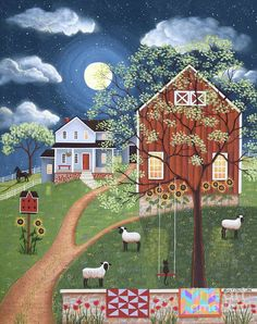 """Sheep Hill Farm"" Folk Art Painting by Mary Charles, Barn Quilts Moon"