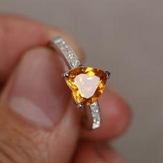 Natural Citrine Ring Sterling Silver Quartz Gemstone Ring Birthstone Ring Wedding Ring Engagement Ring