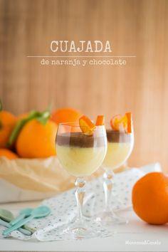 Cuajada de naranja y chocolate. Chocolate and orange curd. Kinds Of Desserts, Sweet Desserts, Delicious Desserts, Fall Recipes, My Recipes, Dessert Recipes, Favorite Recipes, Dessert In A Jar, Dessert Cups