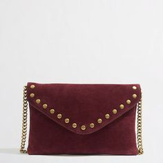 Factory studded suede and leather envelope clutch on shopstyle.com