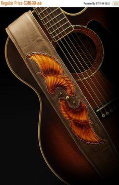 SALE Guitar Strap brown leather guitar strap:  Archangel Guitar Strap
