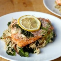 Garlic-dill salmon over rice with caramelized onions and spinach.