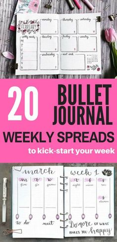 These talented bullet journalists know how to create weekly spreads that keep you organized and kick-start productivity! Check this out for 20 excellent spread ideas.