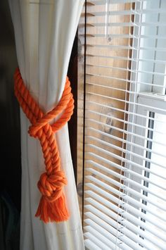 Nautical Decor - Orange Curtain Tiebacks - Nautical Gifts - Orange Cotton Rope (this is for a pair)