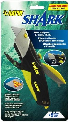 Rapid Tools Shark Utility Knife with Wire Cutters and 5 Serrated Blades -- New and awesome product awaits you, Read it now : home diy improvement Auto Glass, Utility Knife, Diy Home Improvement, Shark, Blade, Wire, Handle, Tools, Canning