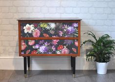 """Upcycled Vintage Mid Century Modern Chest of Drawers, Dutch """"Renaissance"""" Style Floral Decoupage, Bedside Table by ThriftysRetro on Etsy Upcycled Furniture, Diy Furniture, Danish Style, Wooden Chest, Boho Room, Renaissance Fashion, Upcycled Vintage, Unique Home Decor, Diy Projects To Try"""