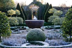 Knot Garden in winter at Abbey House Garden, Wiltshire, United Kingdom