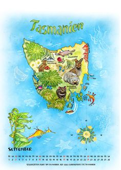 Calendar page: Illustrated map of Tasmania ©  by Claudia Ottilie