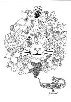 Adult Coloring Book, Printable,Adult Coloring Page - Instant Download Print Your Own Coloring Pages Adult Coloring Book Genie lion by LadySandy on Etsy