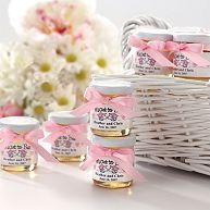 """Pink Wedding Ideas. """"Meant to Bee"""" honey for your wedding guests. #weddingfavors #weddings #exclusivelyweddings"""