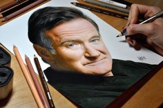Amaze drawing of the late Robin Williams with Prismacolor colored pencil drawing. By Heather Rooney.