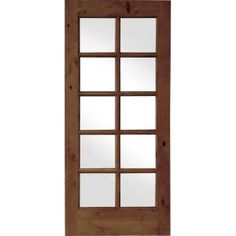 Krosswood Doors 28 In. X 80 In. French Knotty Alder 10 Lite Tempered Glass  Solid Left Hand Wood Single Prehung Interior Door KA.420.24.68.138.