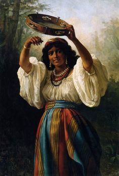 Khariton Platonov - Gypsy Woman with a Tambourine, 1877 (Russian artist, Gypsy Girls, Gypsy Women, Gypsy Life, Gypsy Soul, Noter Dame, Santa Sara, Gypsy Culture, Gypsy Fortune Teller, Vintage Gypsy