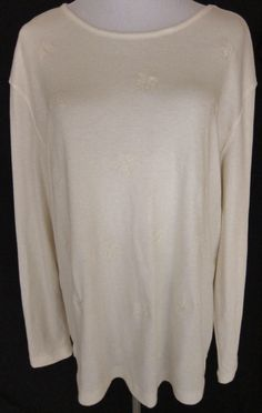 Women's Size 16/18W 1X Cream Long Sleeve Knit Top Classic Elements New With Tag #ClassicElements #KnitTop