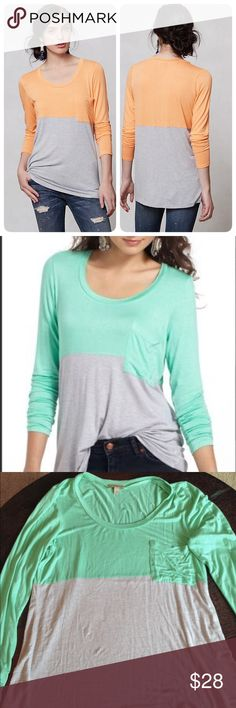 Anthropologie Duo colorblocked tee Very popular Colorblocked top by Bordeaux which is very soft, attractive, and comfortable! Can be worn as tunic with leggings/jeans in fall and it with jeans and boots in the winter.❤️ worn once. Anthropologie Tops Tees - Long Sleeve